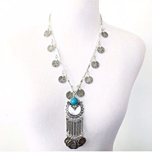 Jewelry - NWT long bohemian silver necklace with blue bead